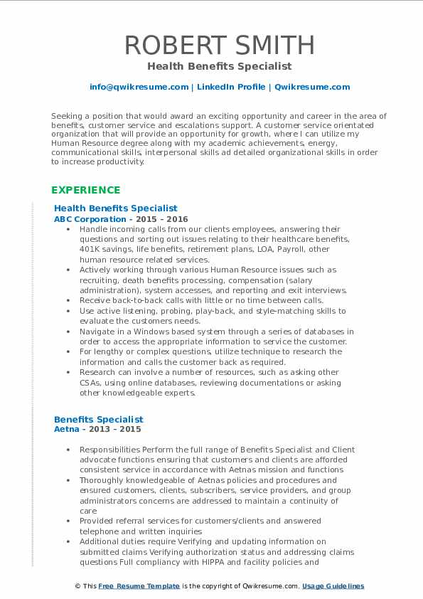 Health Benefits Specialist Resume Format