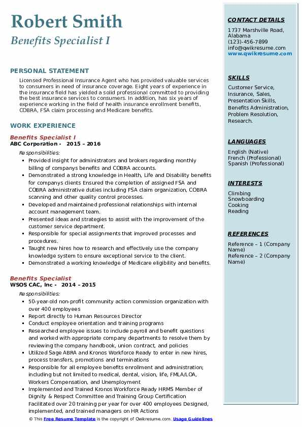 Benefits Specialist I Resume Sample