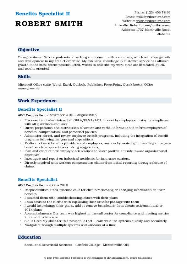 Benefits Specialist II Resume Example