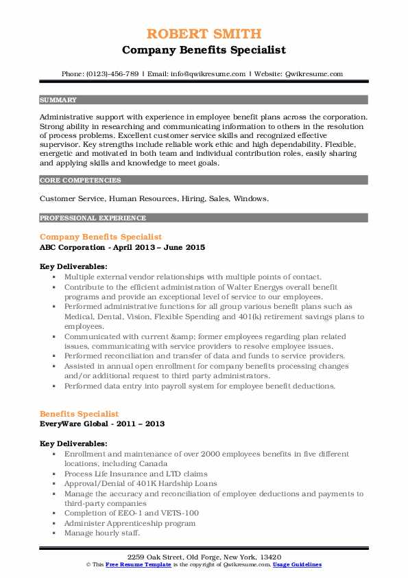 Benefits Specialist Resume Samples Qwikresume