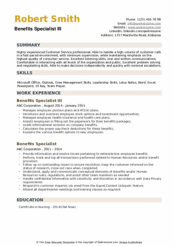 Benefits Specialist III Resume Example