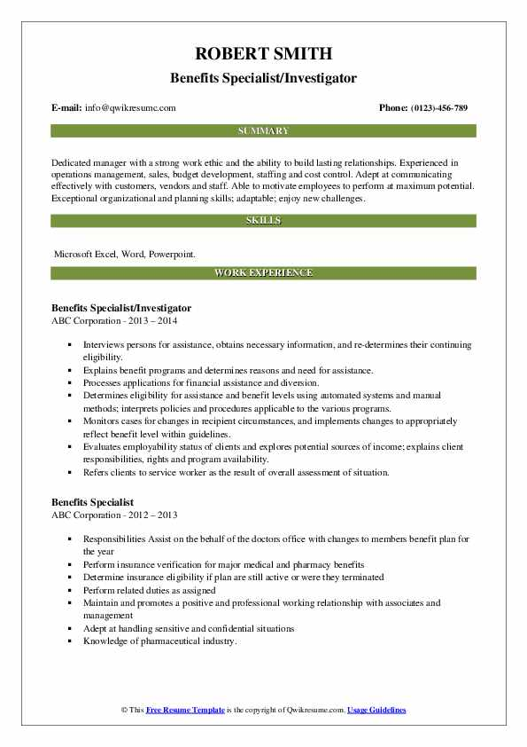 Benefits Specialist/Investigator Resume Model