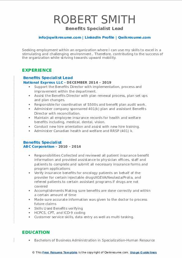 Benefits Specialist Lead Resume Sample