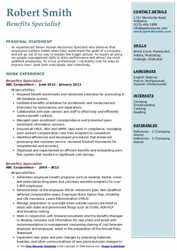 Benefits Specialist Resume example
