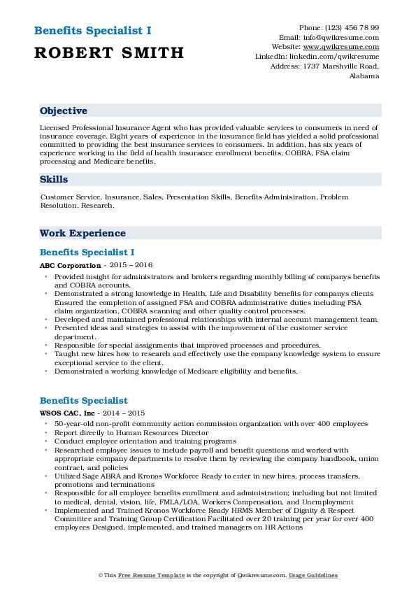 Licensed Insurance Broker Resume Example