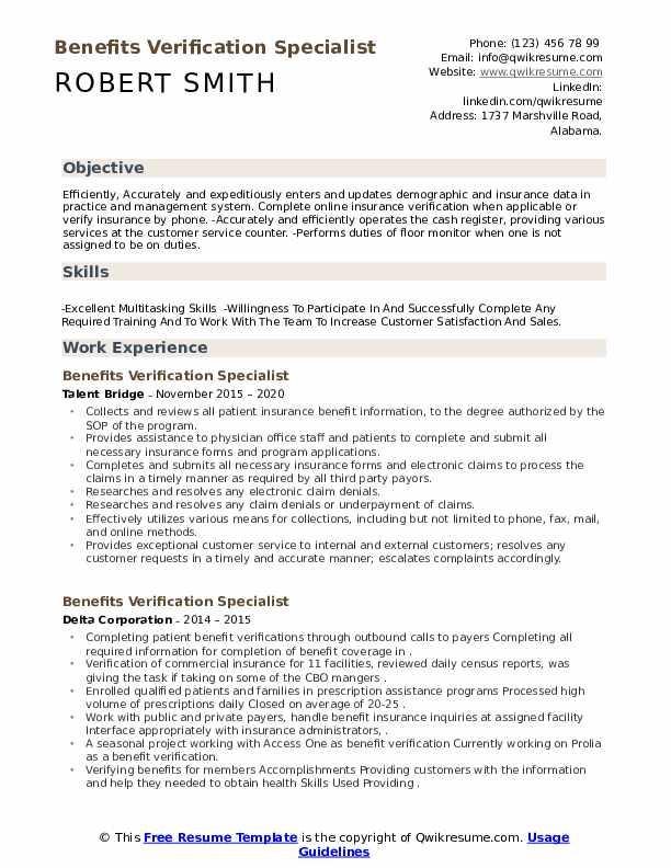 Benefits Verification Specialist Resume Samples Qwikresume