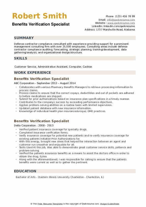 Benefits Verification Specialist Resume example