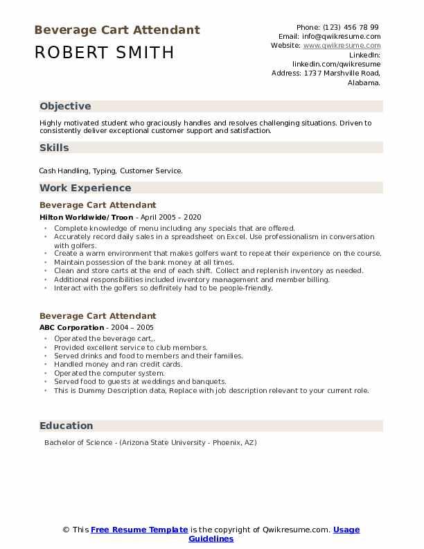Beverage Cart Attendant Resume example