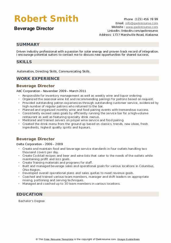 Beverage Director Resume example