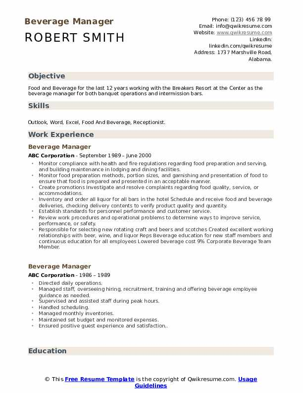 Beverage Manager Resume Format