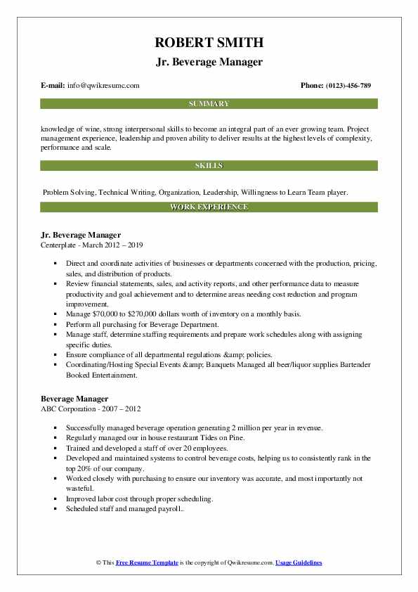 Jr. Beverage Manager Resume Template
