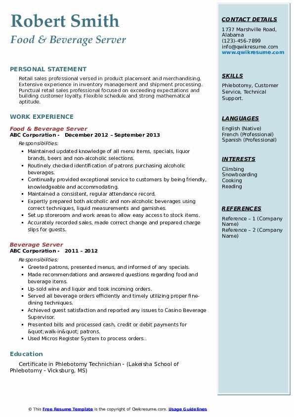 Food & Beverage Server Resume Model