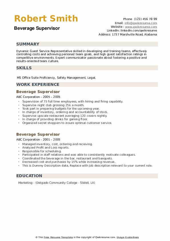 Beverage Supervisor Resume example