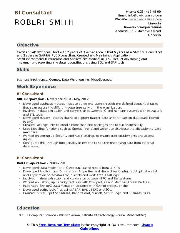 Business Intelligence Requirements Template from assets.qwikresume.com