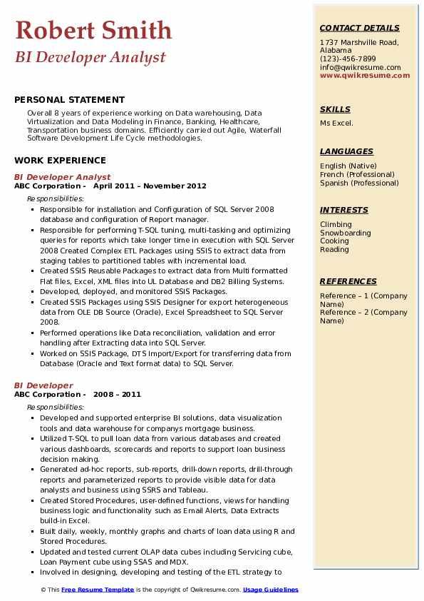 bi developer resume samples  qwikresume