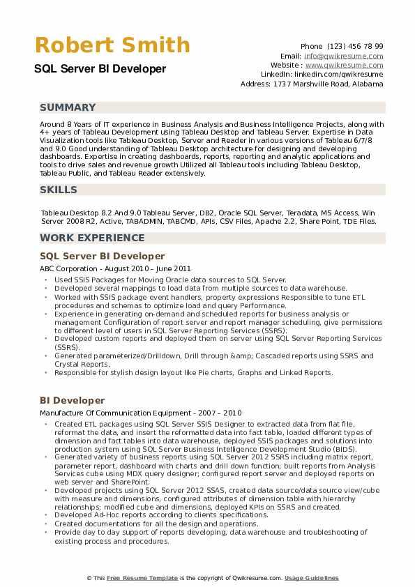 SQL Server BI Developer Resume Example
