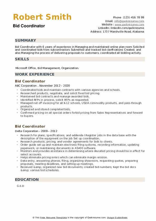 Bid Coordinator Resume example