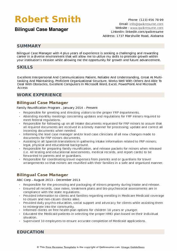 Bilingual Case Manager Resume Samples Qwikresume