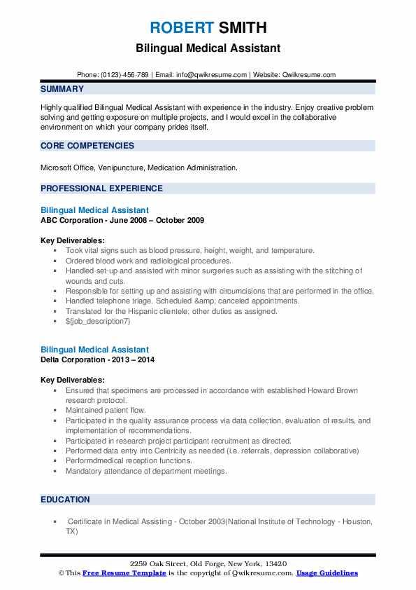 bilingual medical assistant resume samples  qwikresume