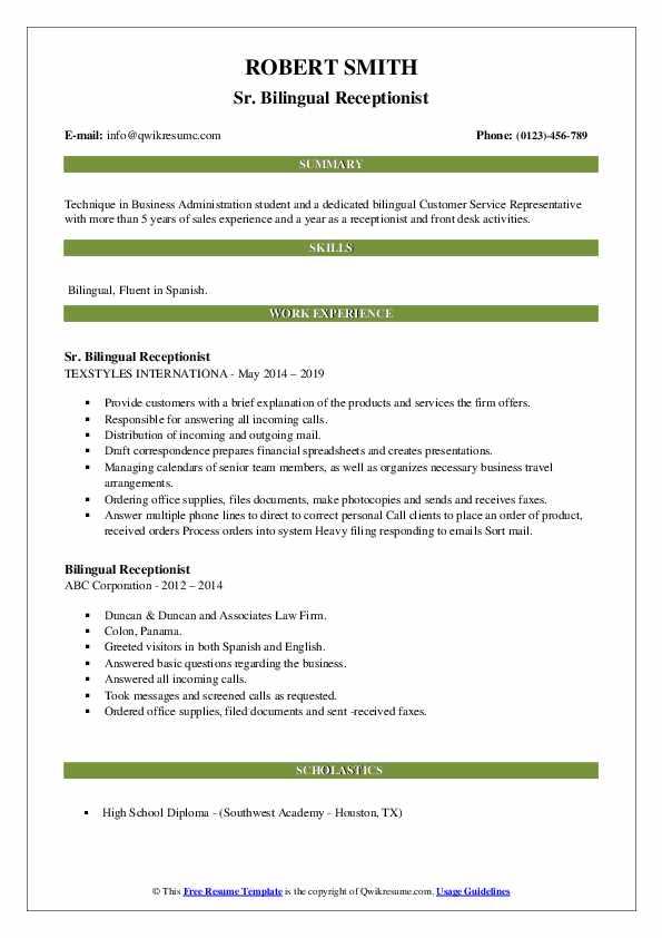 bilingual receptionist resume samples  qwikresume