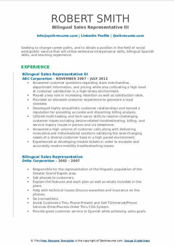 bilingual sales representative resume samples  qwikresume