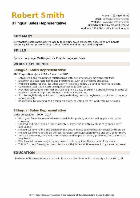 Bilingual Sales Representative Resume example