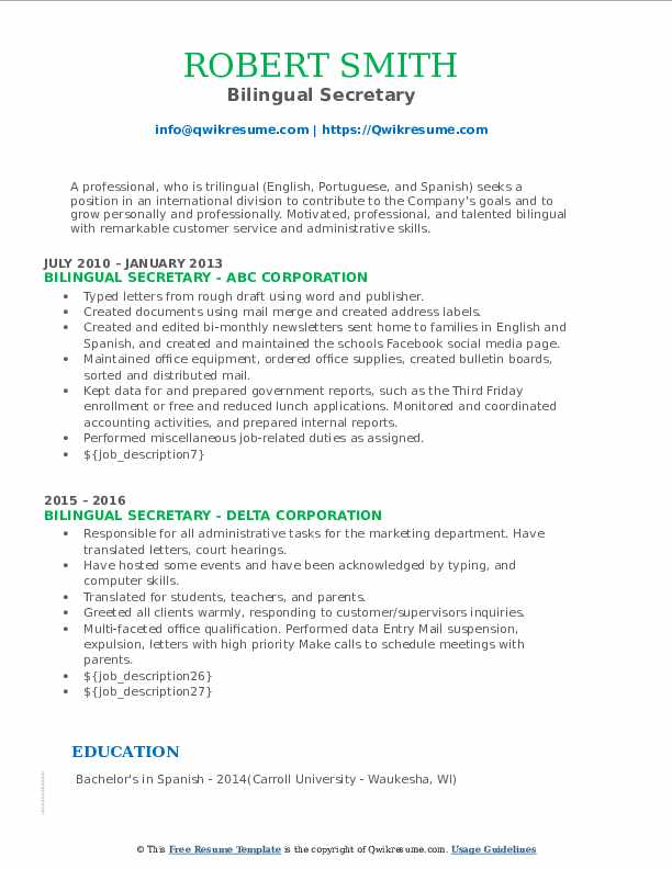 bilingual secretary resume samples  qwikresume