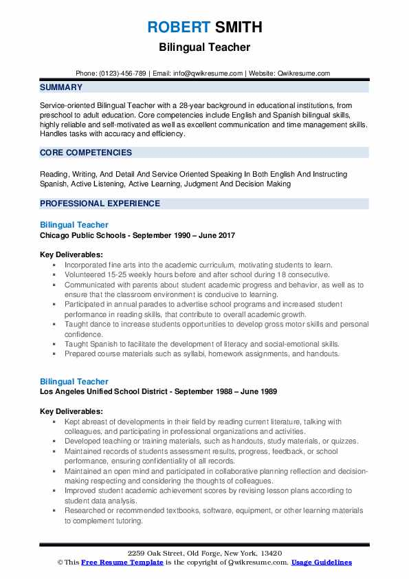 Bilingual Teacher Resume Samples