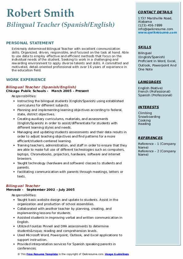 bilingual teacher resume samples