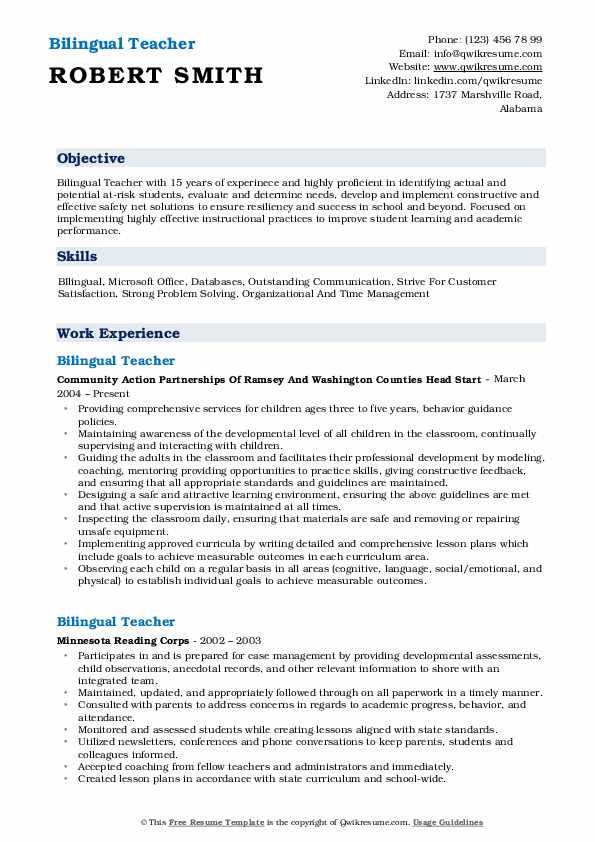 bilingual-teacher-1546993032-pdf Sample Comprehensive Resume Format on for high school students, job application,