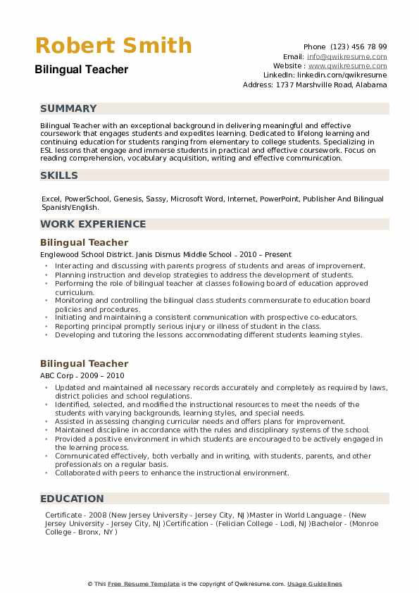 Bilingual Teacher Resume example