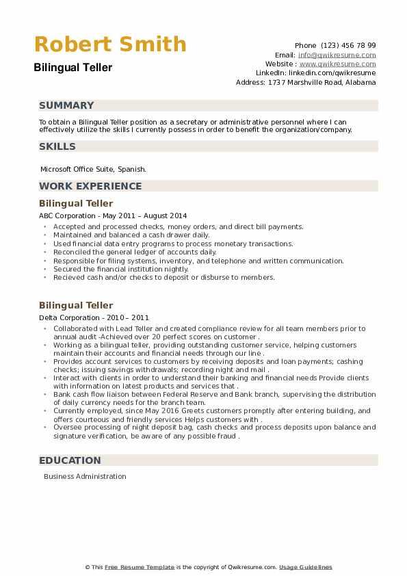 Bilingual Teller Resume example