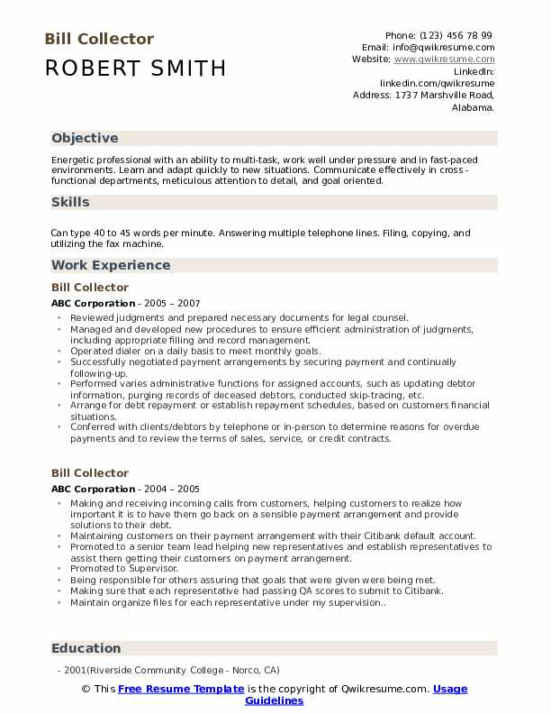 Bill Collector Resume Template