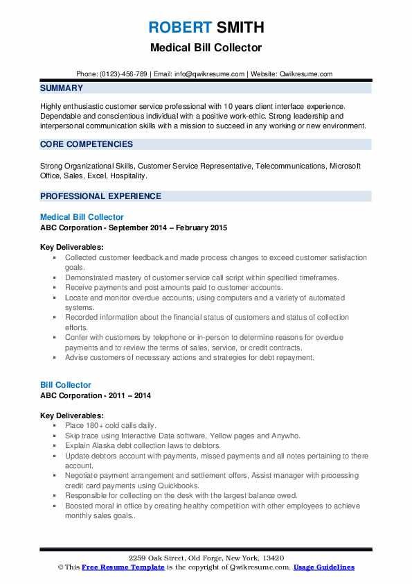 Medical Bill Collector Resume Template