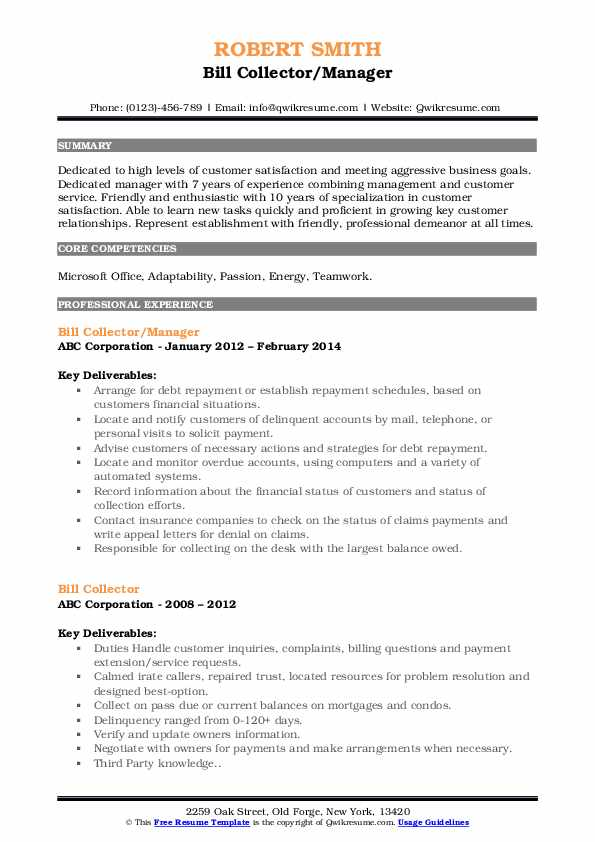 Bill Collector/Manager Resume Model