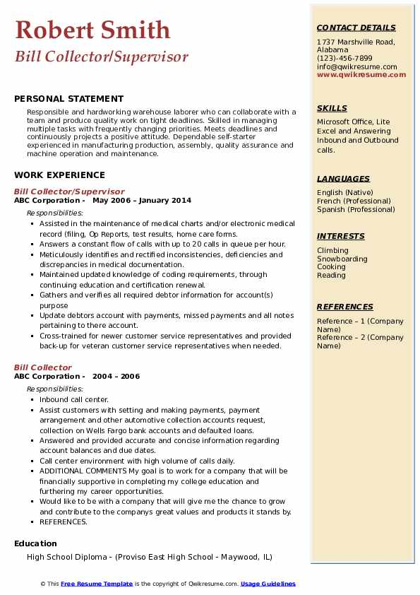 bill collector resume samples  qwikresume