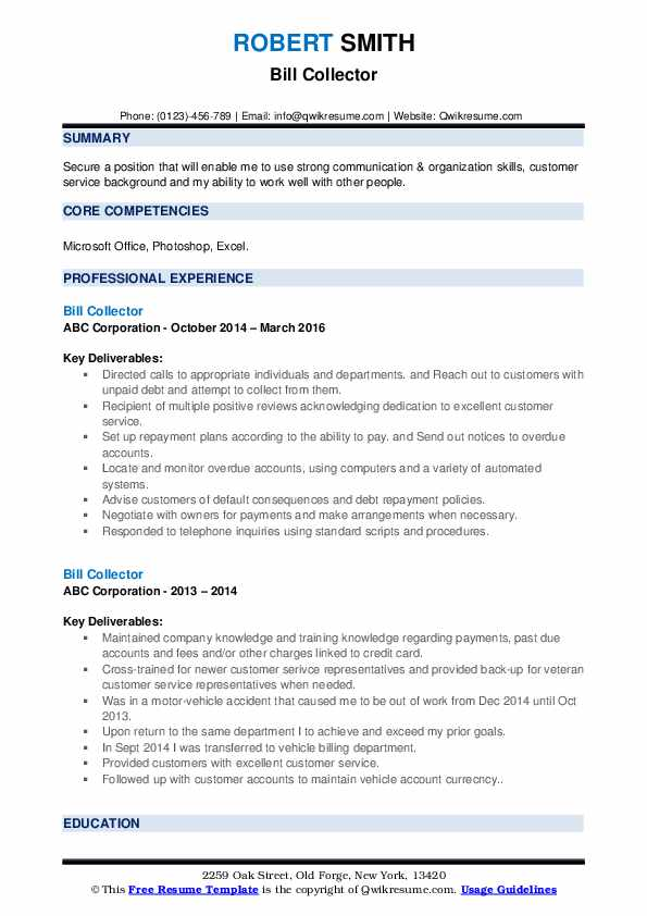 Bill Collector Resume example