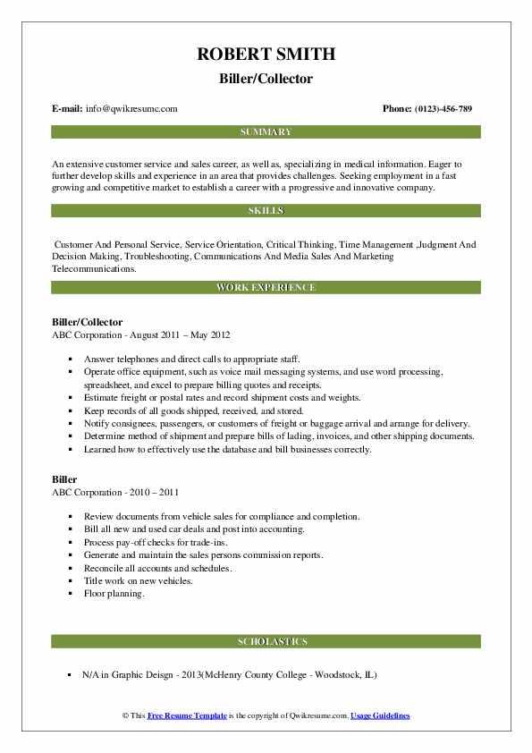 Biller/Collector Resume Model