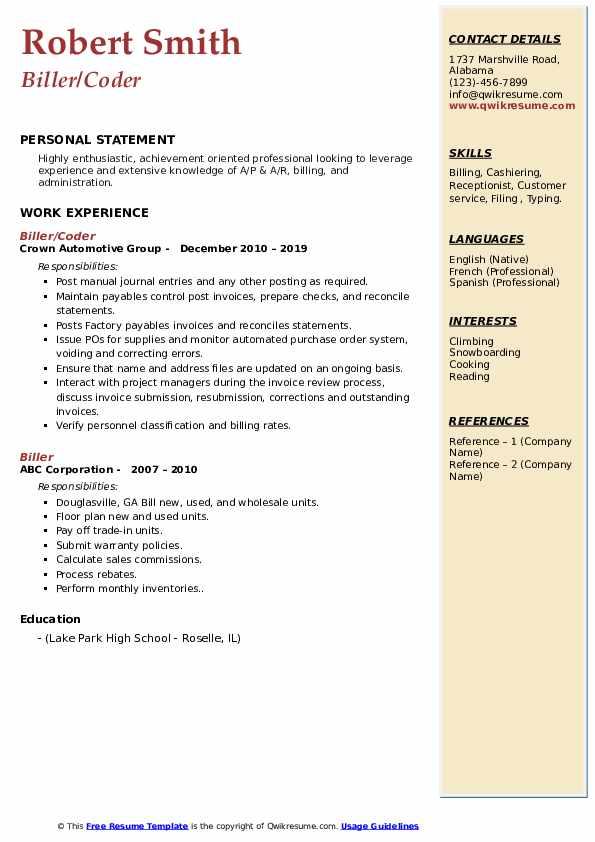 Biller/Coder Resume Sample