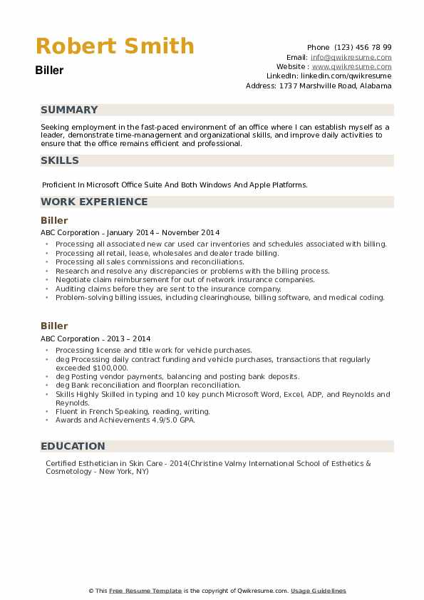 Biller Resume example