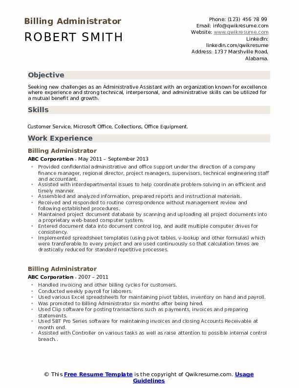 Billing Administrator Resume Sample