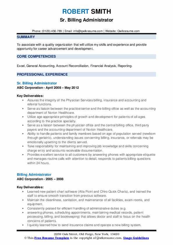 Sr. Billing Administrator Resume Model