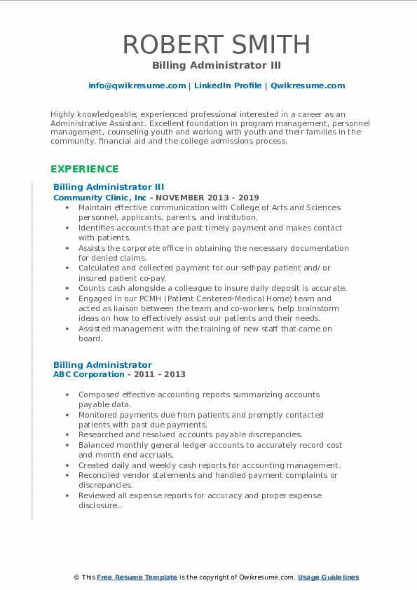 Billing Administrator III Resume Format