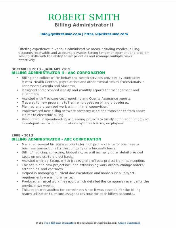 Billing Administrator II Resume Template