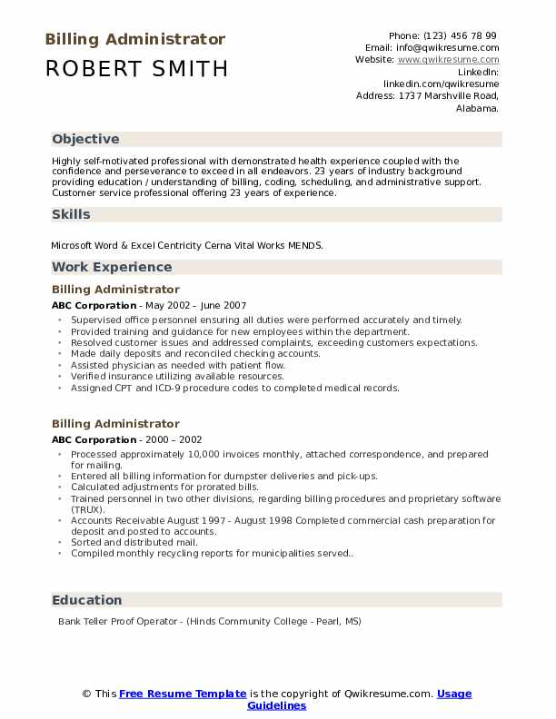 Billing Administrator Resume example
