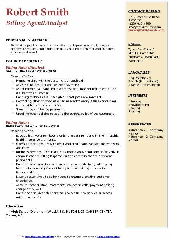 billing agent resume samples