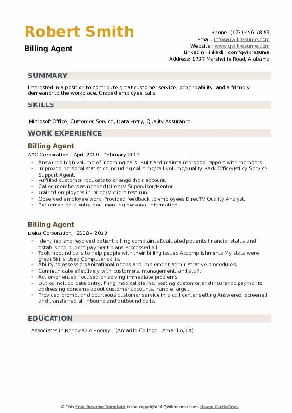 Billing Agent Resume example