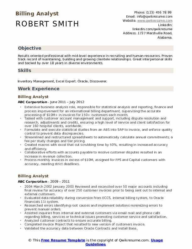 Billing Analyst Resume Sample