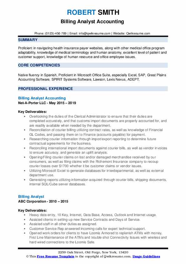 billing analyst resume samples