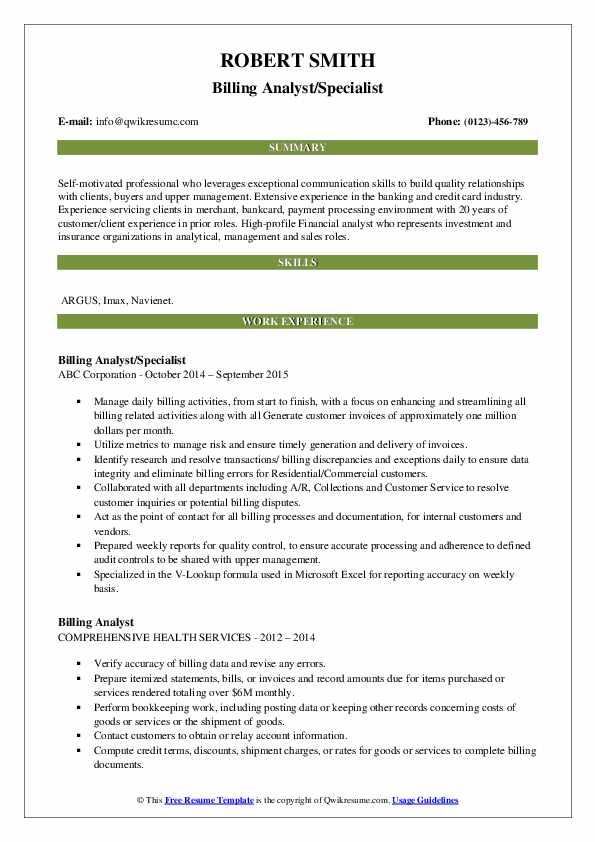 Billing Analyst/Specialist Resume Format